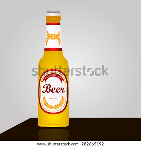 bottle of light beer on the table - stock vector