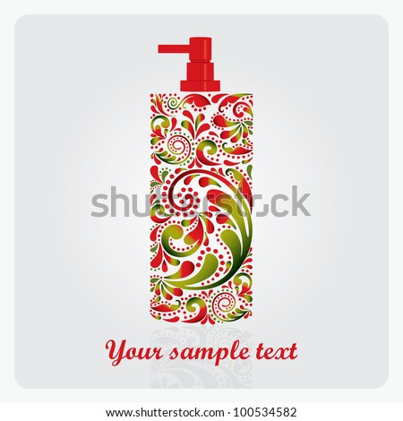 Bottle of lotion, made of the leaf pattern. Vector EPS10 illustration. - stock vector