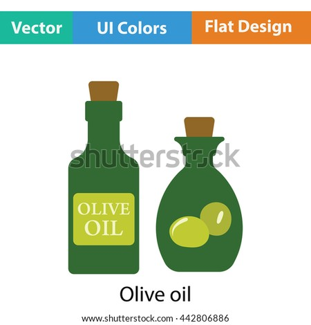 Bottle of olive oil icon. Flat color design. Vector illustration.