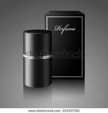 Bottle of perfume, deodorant with box - stock vector