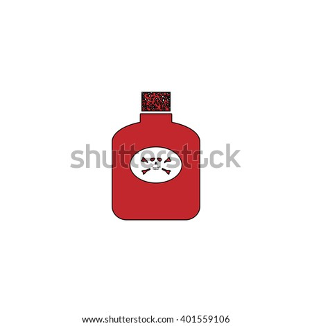 Bottle of poison. Red flat simple modern illustration icon with stroke. Collection concept vector pictogram for infographic project and logo - stock vector