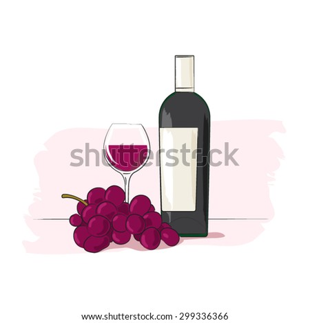 Bottle of red wine and grapes - stock vector