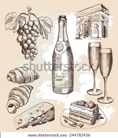 bottle of sparkling wine and snacks bottle of sparkling wine and snacks options - stock vector