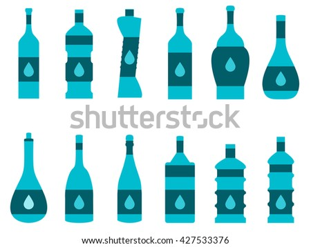 Bottle of water. Set of bottles of different shapes. Isolated on white. Vector illustration.