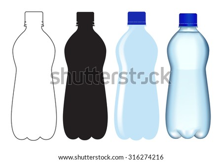 Bottle of water.  Vector isolated on white background.