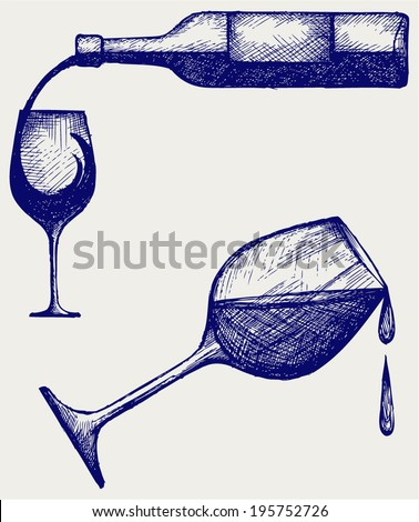 Bottle of wine and glasses. Doodle style - stock vector