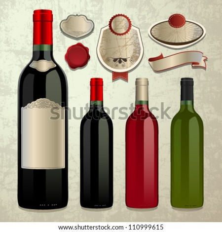 Bottle of Wine and Vector Labels. Graphic Design Editable For Your Design.