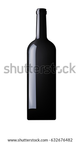 Bottle of wine on white background. Vector illustration