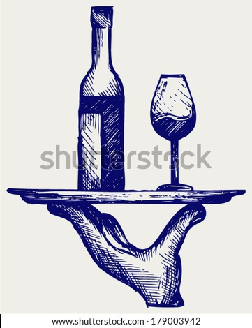 Bottle of wine with a glass on a tray. Doodle style - stock vector