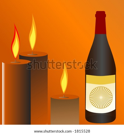bottle of wine with candles - stock vector