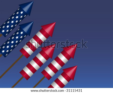 Bottle Rocket Background in Flag Formation