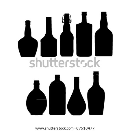 bottle set black color isolated - stock vector