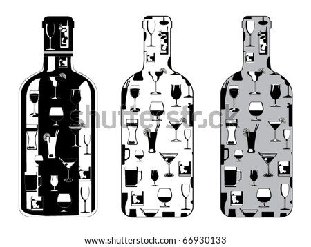 bottle set with drinking glasses vector - stock vector