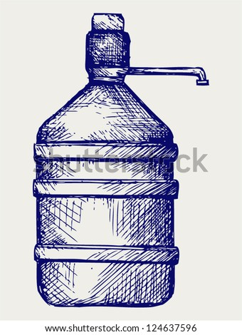 Bottle water. Doodle style - stock vector