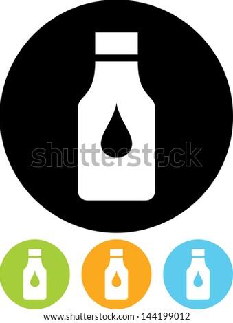 Bottle with liquid stuff vector isolated - stock vector