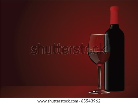 bottle with red wine and glass - stock vector