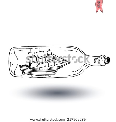 Bottle with small old ship inside icon, vector illustration - stock vector