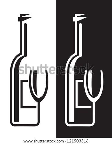 bottles and glasses - stock vector