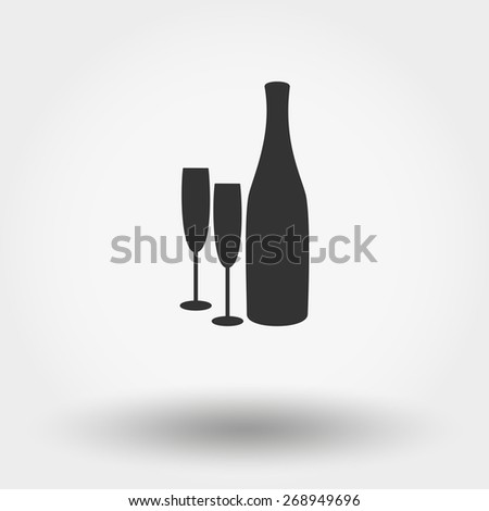 Bottles and glasses. Grey web icon, vector illustration. Flat design style. - stock vector