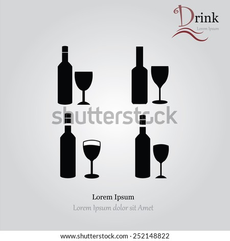 Bottles and glasses of alcohol.bottle and glass vector    - stock vector