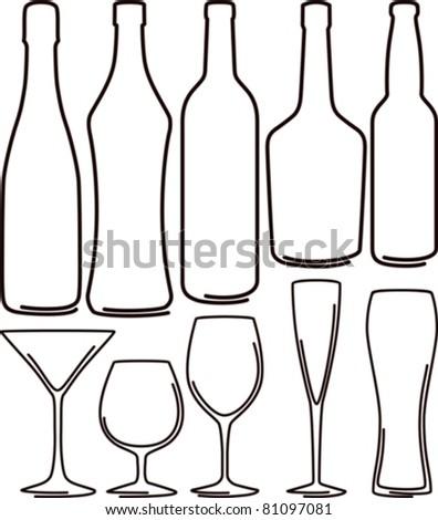 bottles  and glasses set - stock vector