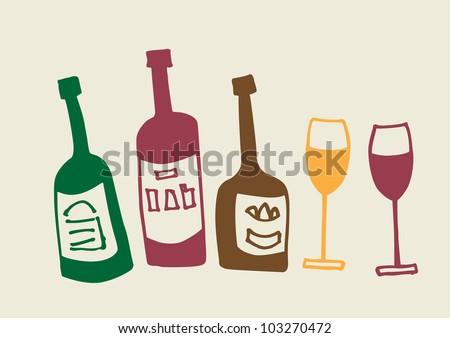 Bottles and glasses set. Vector illustration. - stock vector