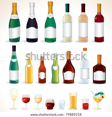 Bottles and Glasses with Various alcoholic drinks, icons, illustrations. Vector clip art isolated on white background, only simply gradients used