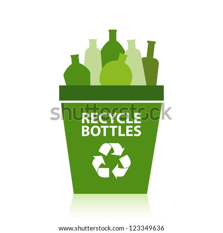 Bottles in a green recycling bin. - stock vector
