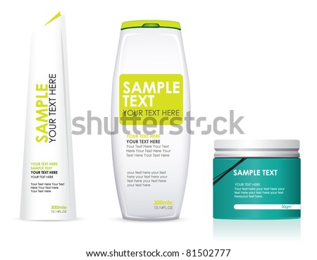Bottles of hair care products - stock vector