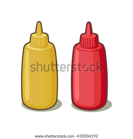Bottles of ketchup and mustard isolated on white background. Vector flat illustration.