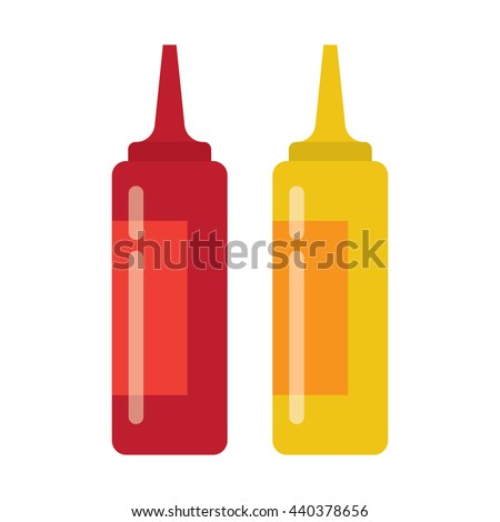 Bottles of ketchup and mustard isolated on white background. Vector illustration.