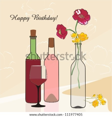 Bottles wine flowers good restaurant bar stock vector royalty free bottles of wine and flowers good for restaurant or bar menu design posters and m4hsunfo