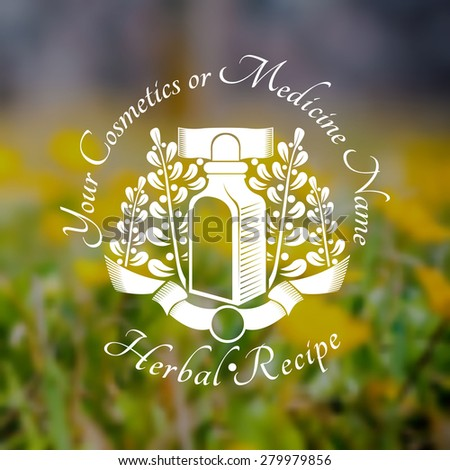 Bottles or glass near stalk with leaves and berries on blurred background of grass and yellow flower. Vector silhouette label. (cream, lotion, balm, tincture, cosmetics, oil, perfume, herbal drags) - stock vector