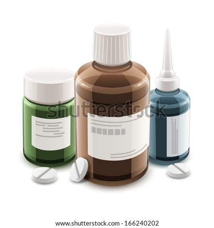 Bottles with medical drugs and pills. Eps10 vector illustration. Isolated on white background - stock vector