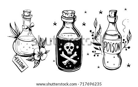 Bottles Potions Poison Love Potion Hand Stock Vector ...