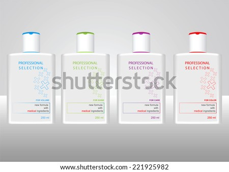 Bottles with sample labels for shower gel or shampoo - stock vector