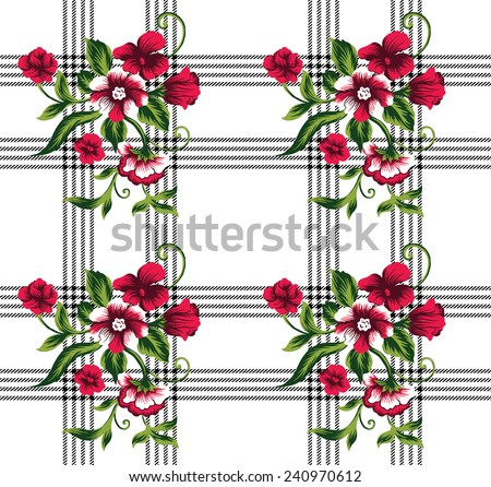 Bouquet of beautiful red flowers on black plaid. - stock vector