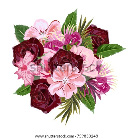 Bouquet burgundy roses cute pink flowers stock vector 759830248 bouquet of burgundy roses and cute pink flowers decor elements for greeting cards wedding mightylinksfo