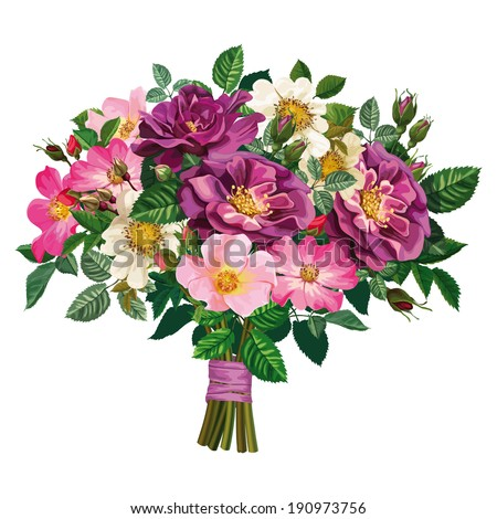 bouquet of colored roses, tied with a ribbon - stock vector