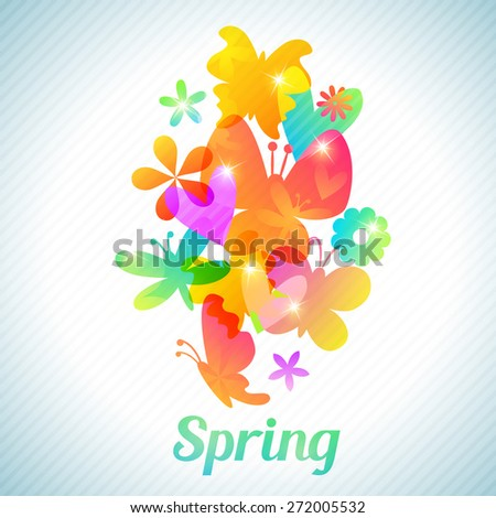Bouquet of cute flower and butterfly, floral background. Vector illustration for spring feminine  design. Bright colors. Romantic elegant silhouette wallpaper. - stock vector