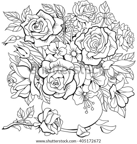 Bouquet Different Flowers Coloring Page Stock Vector 405172672 ...