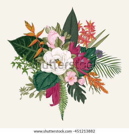 Bouquet of exotic flowers. Vintage vector illustration. Colorful - stock vector