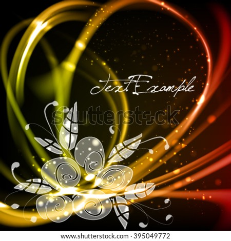 Bouquet of festive flowers. Abstract dark elegant vector background. Burning emotional expressive frame