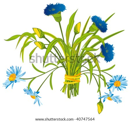 Bouquet of Field Flowers - stock vector