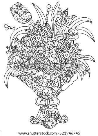 Bouquet Of Flowers Coloring Book For Adults Vector Illustration Flower Anti Stress