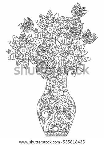 Bouquet Flowers Coloring Book Adults Vector Stock Vector (2018 ...