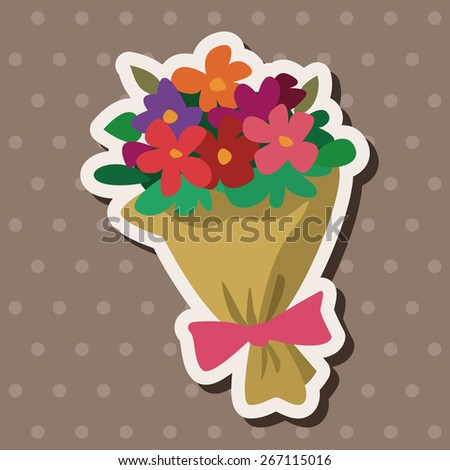 Bouquet of flowers flat icon elements background,eps10 - stock vector