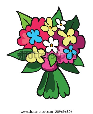 bouquet of flowers, vector illustration on white background - stock vector