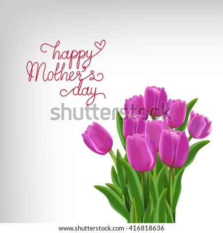 bouquet of pink tulips with happy mother day wording in vector format, EPS10 for your design , ads, banner, card - stock vector