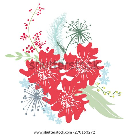 Bouquet of red anemones, twigs, dried flowers and wildflowers. Vector illustration for greeting cards and invitations. - stock vector